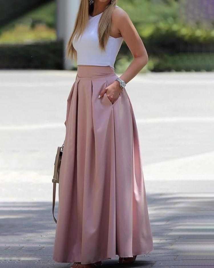 Sleeveless Cropped Top & Pleated Skirt Sets