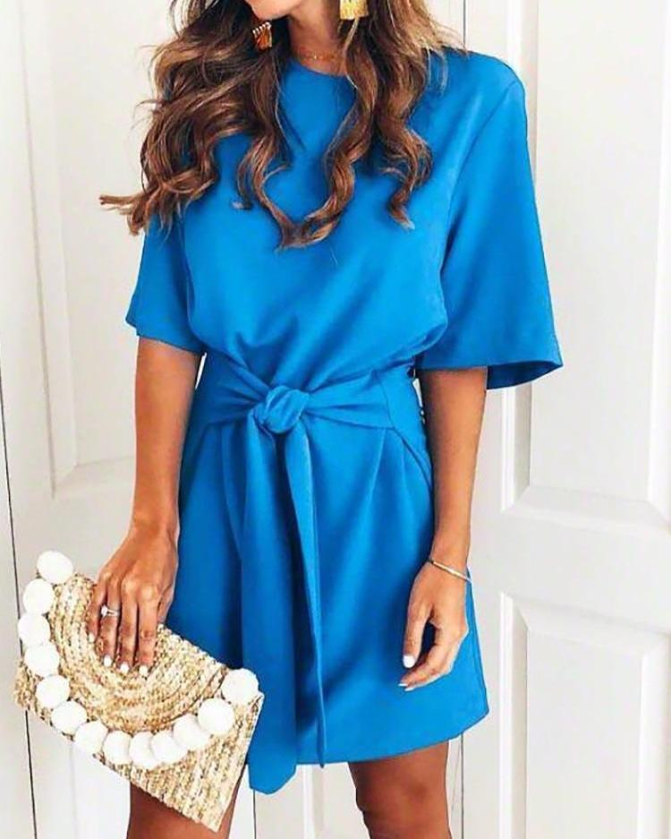 Solid Short Sleeve Self-Belted Casual Dress фото