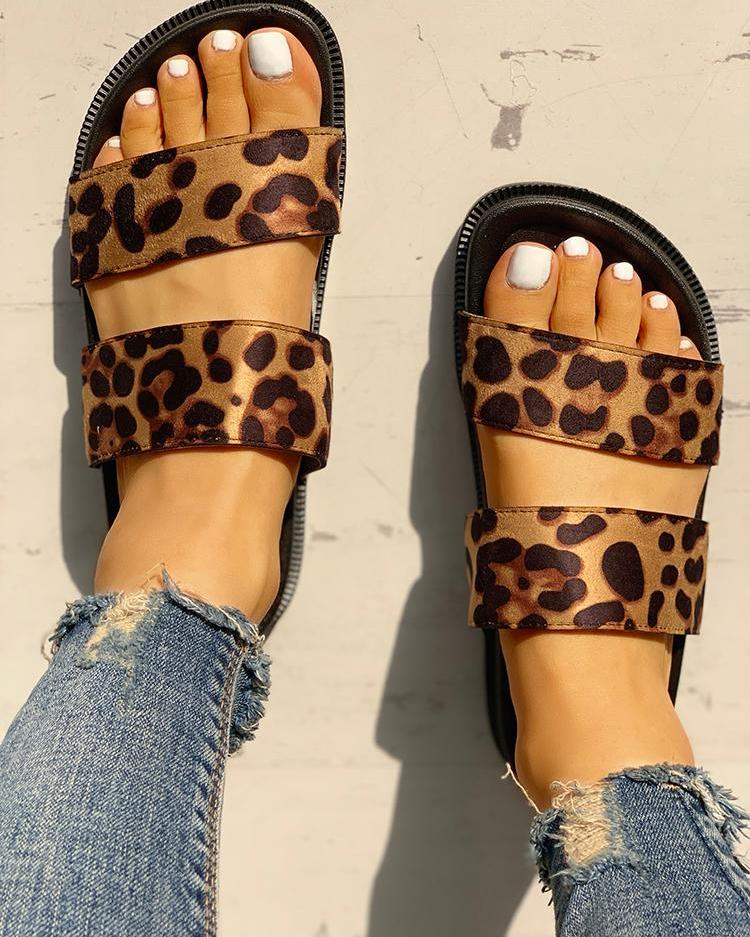 Double Strap Open Toe Flat Sandals