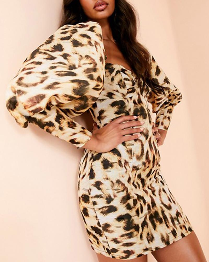 Leopard Lantern Sleeve Bodycon Dress фото
