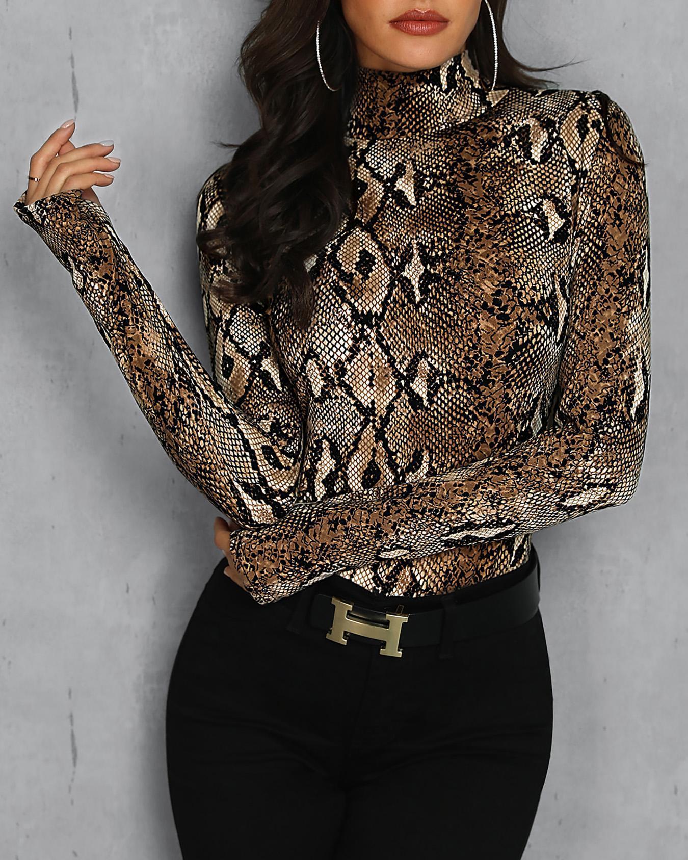 Leopard Print Thumb Hole Bodysuit