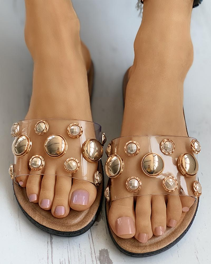 Beaded Transparent Strap Flat Sandals фото