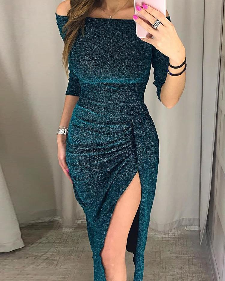 Glitter Ruched Thigh Slit Party Dress, Green