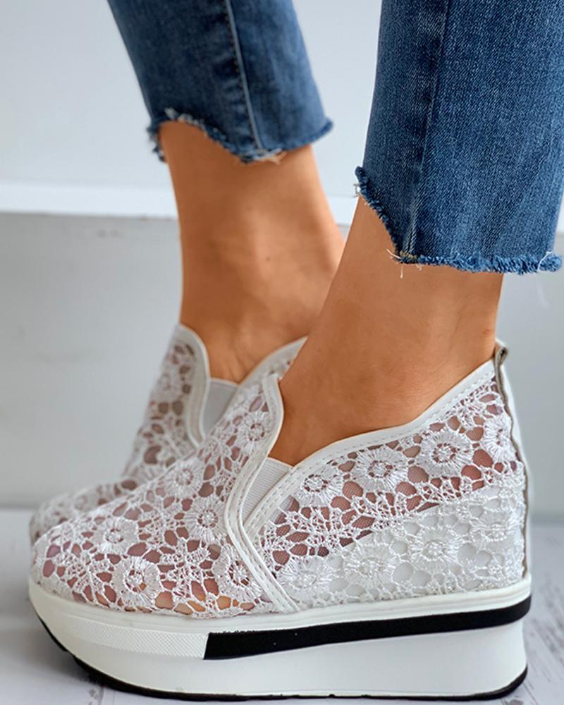 chicme / Sapatos Muffin Respirável com Malha Transparente em Crochê com Renda e Renda