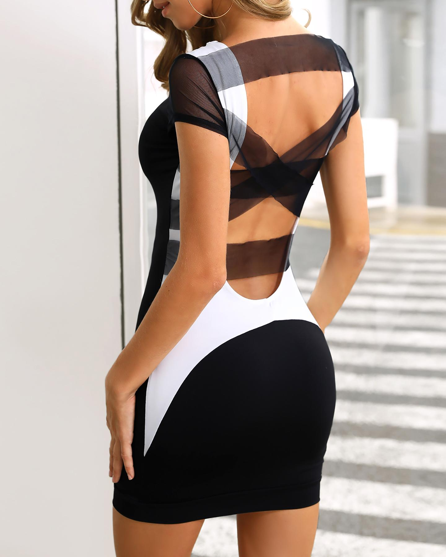 Bandage Crisscross Back Bodycon Dress