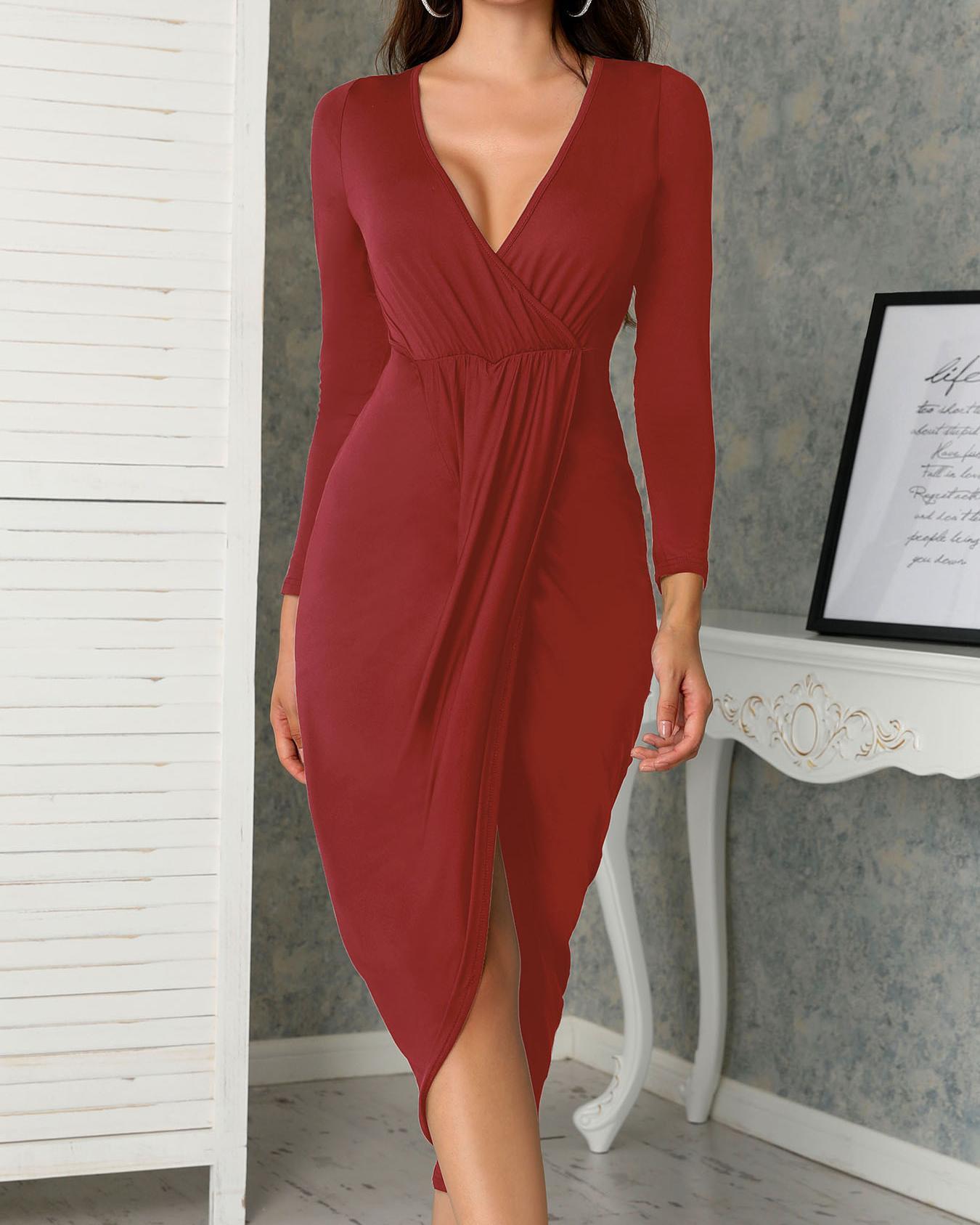 Deep V Ruched Tulip Hem Party Dress фото