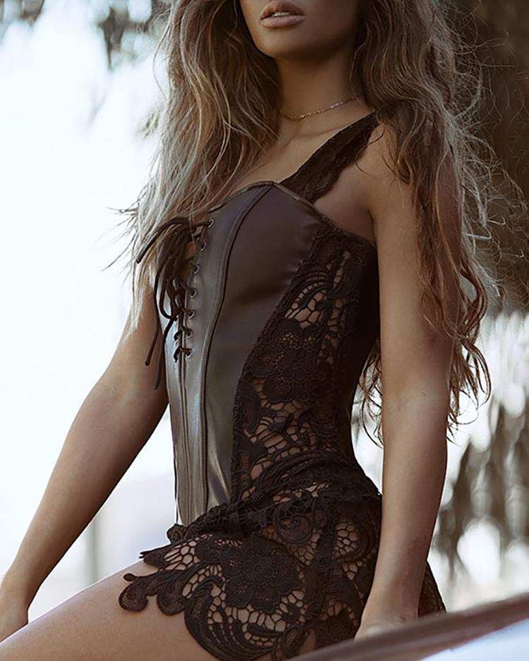 Lace-Up Eyelet Artificial Leather Bustier Babydoll фото