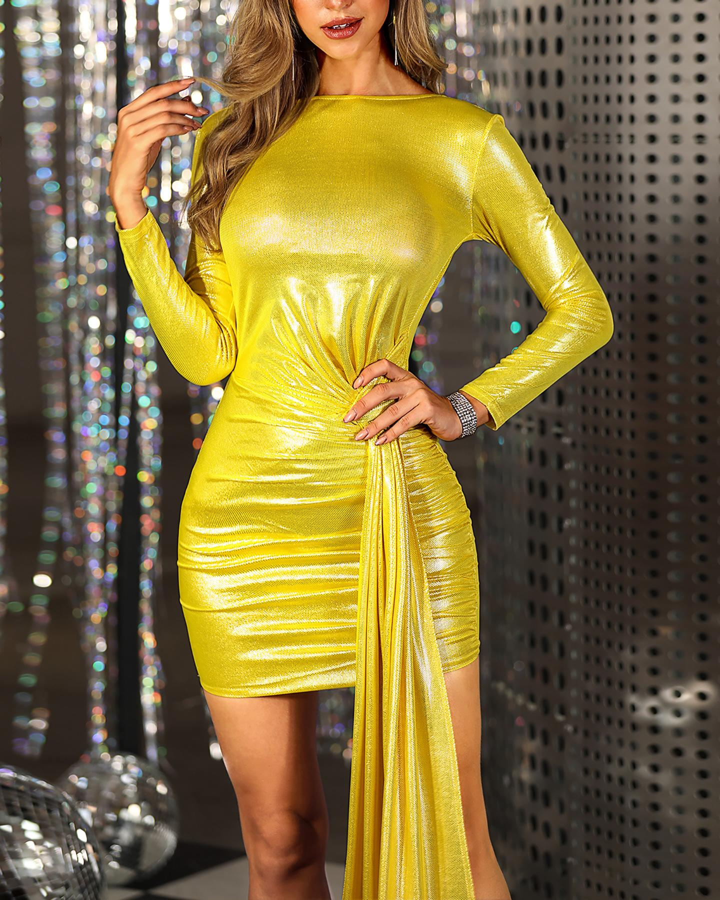 Solid Backless Long Sleeve Bodycon Dress фото