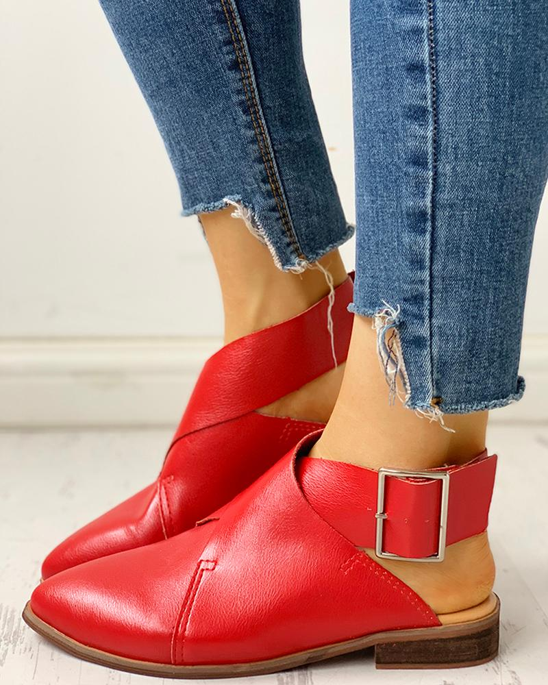 Pointed Toe Slingback Buckled Detail Shoes