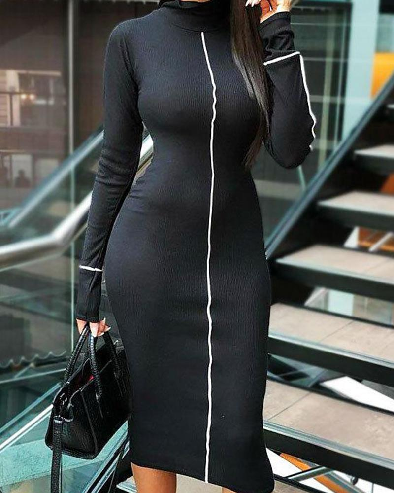 High Neck Bodycon Midi Dress фото