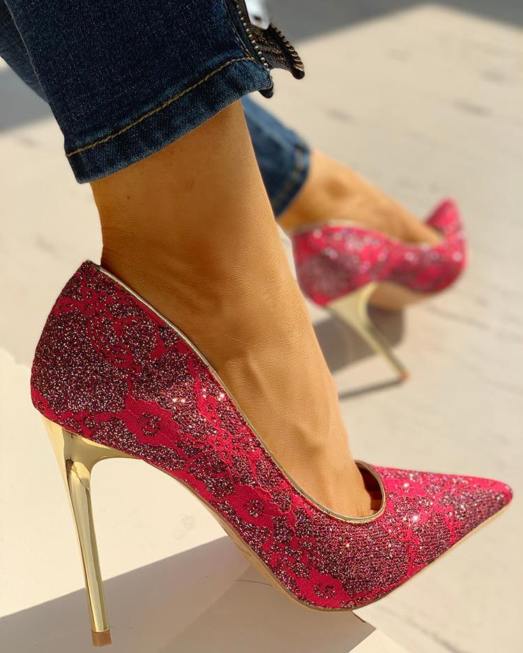 Lace & Glitter Pointed Toe Thin Heels