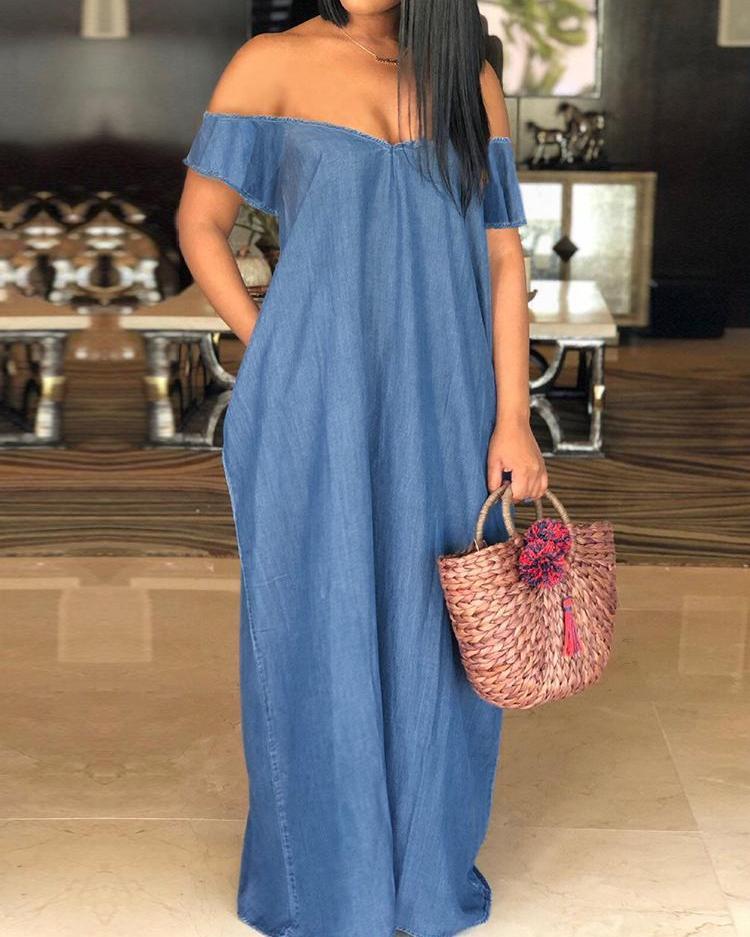 boutiquefeel / Oversized Off Shoulder Loose Denim Maxi Dress