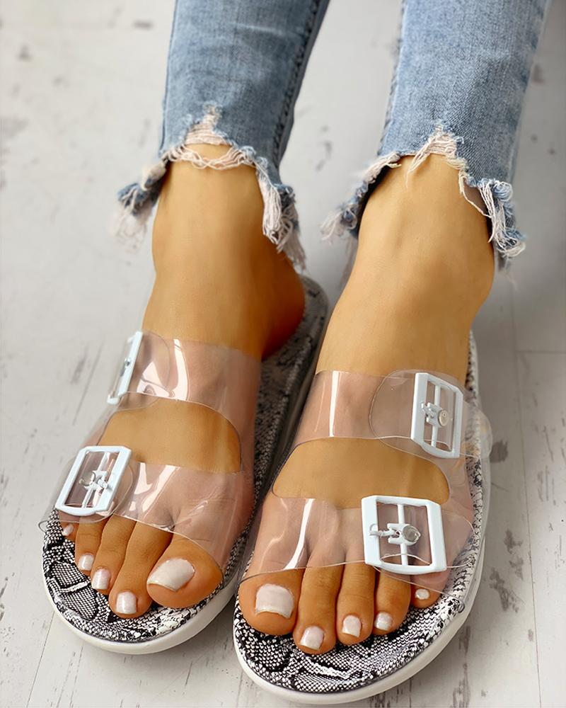chicme / Transparent Buckle Design Flat Sandals