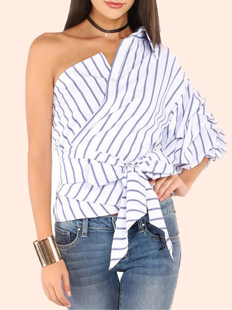 Bowknot Detail Pinstripe One Shoulder Top