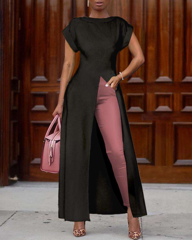 Short Sleeve Solid Color High Split Top, Black