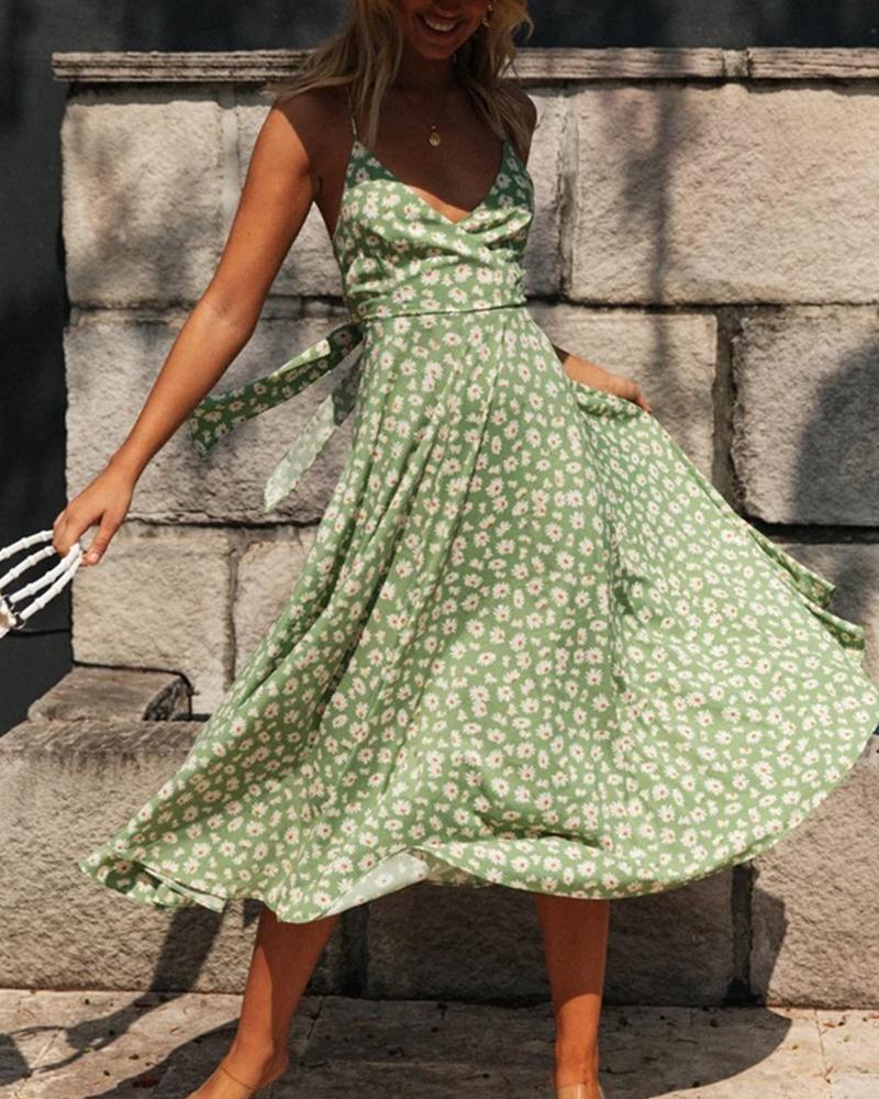 Floral Print V Neck Cami Dress фото