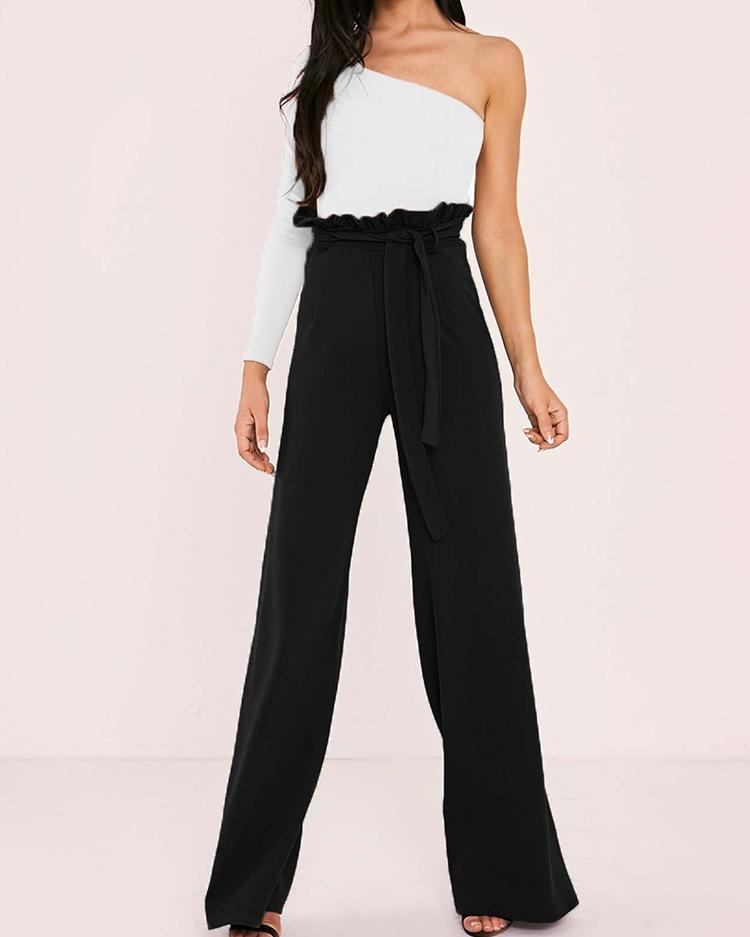 boutiquefeel / Calças de perna larga cintura alta com cinto de babados