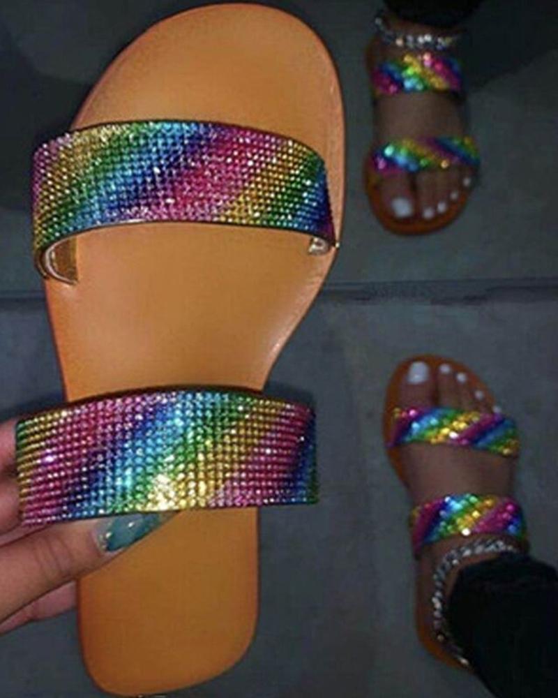 Multicolor Upper Open Toe Flat Sandals фото
