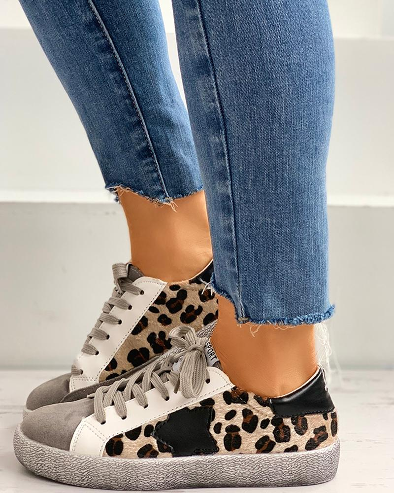 Cheetah Pattern Lace-up Casual Sneakers фото