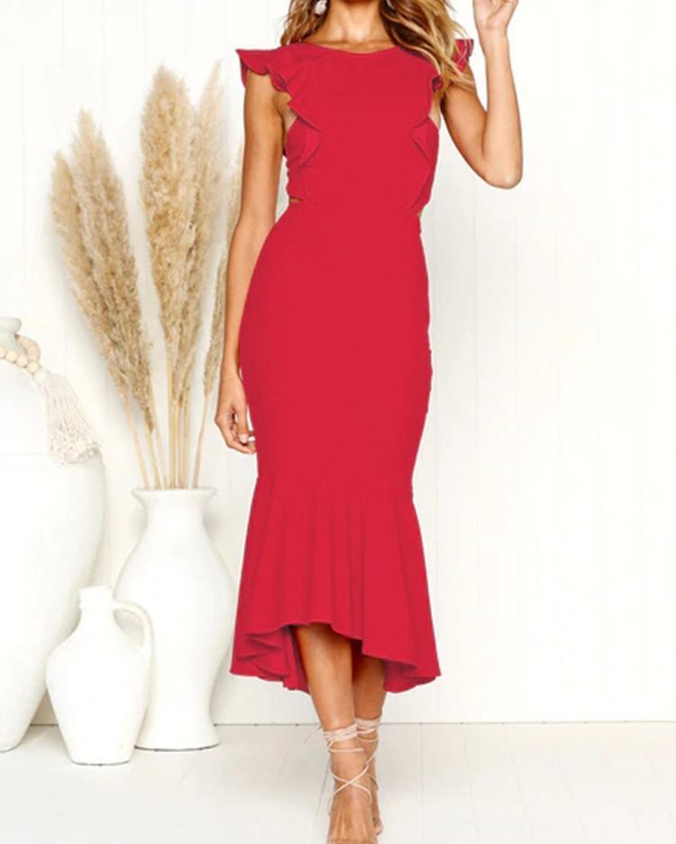 chicme / Ruffles Design Open Back Fishtail Dress
