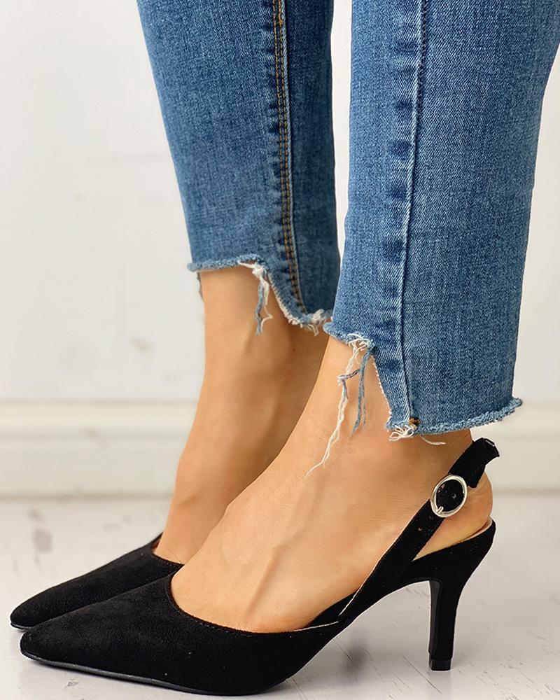 ivrose / Sapatos de salto alto com ponta de camurça