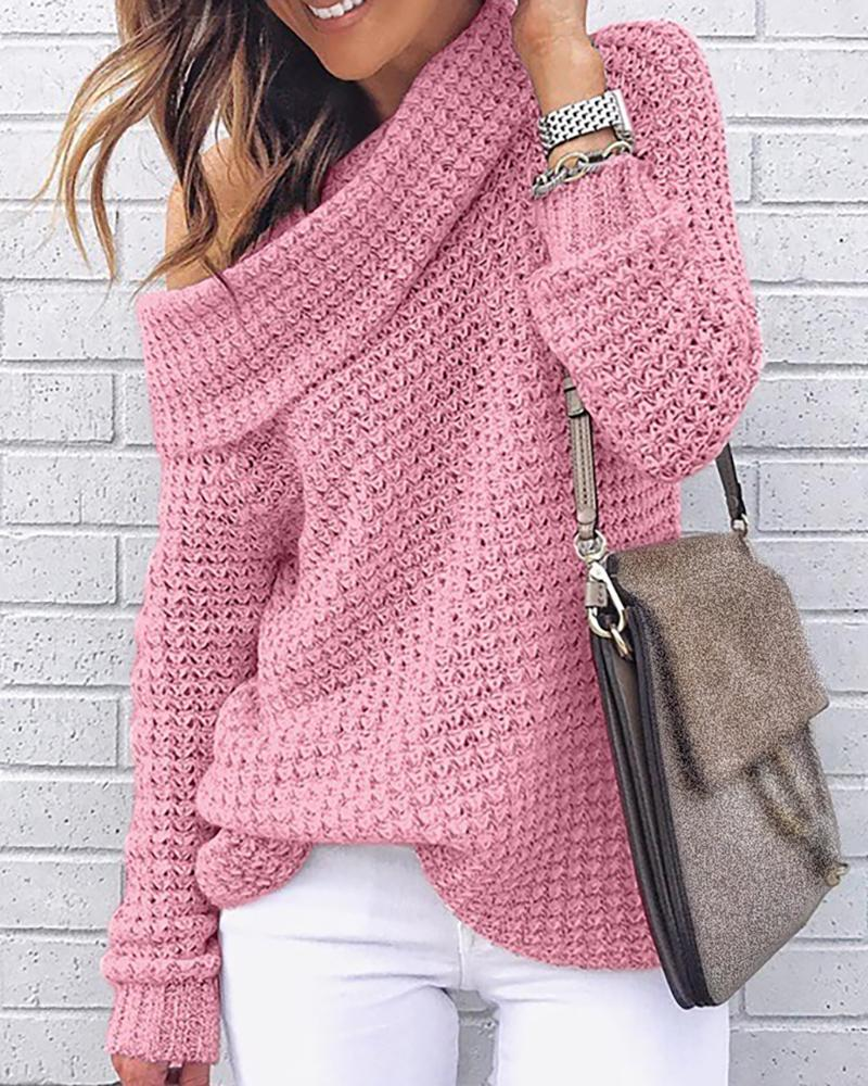 Solid High Neck Knitting Casual Sweater, Pink