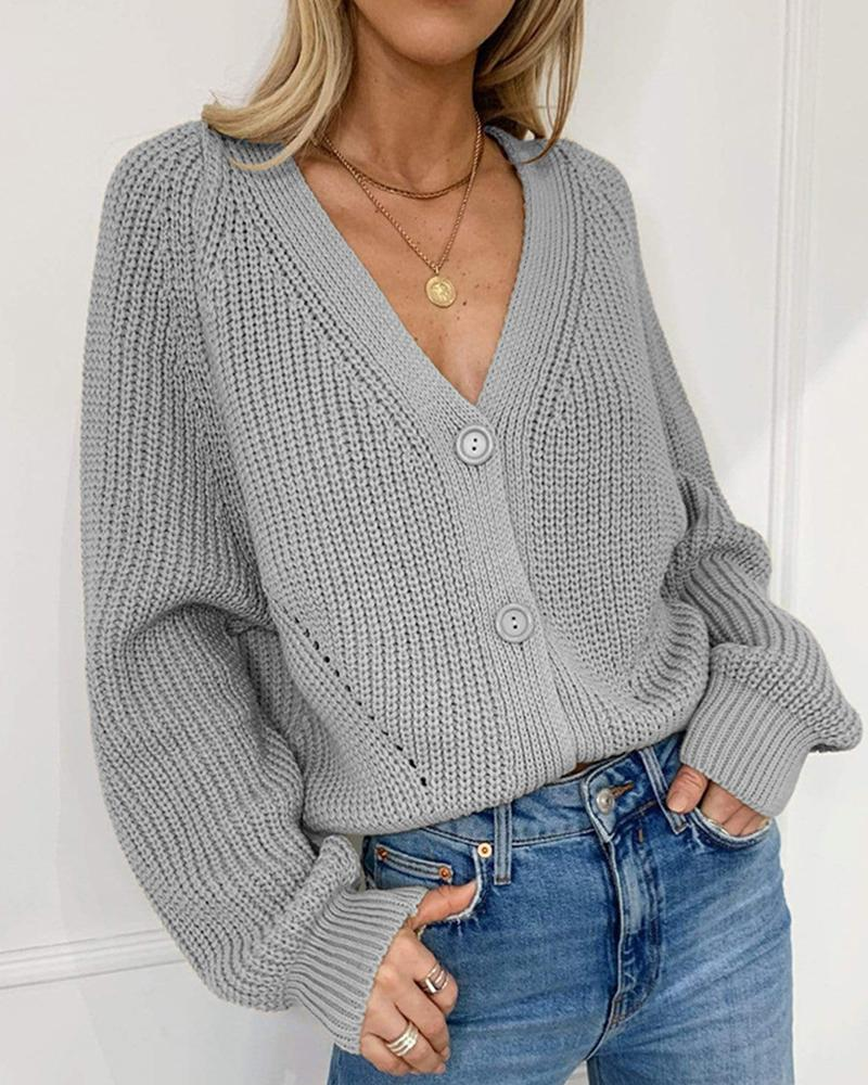 Solid Bloomer Sleeve Loose Cardigans фото