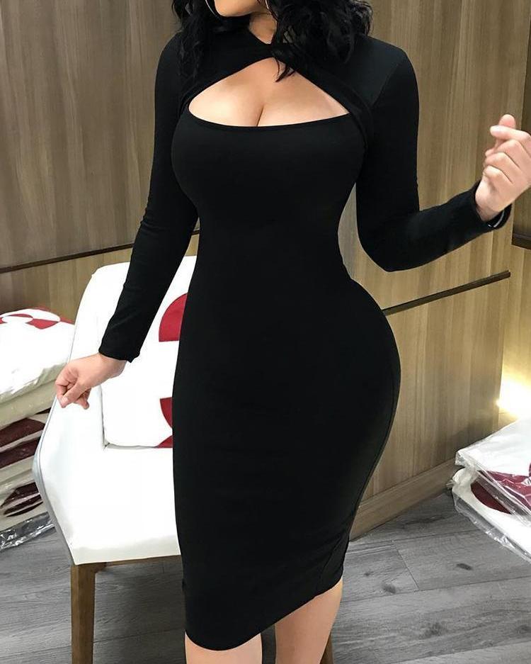 boutiquefeel / Vestido midi bodycon de manga larga frente corte