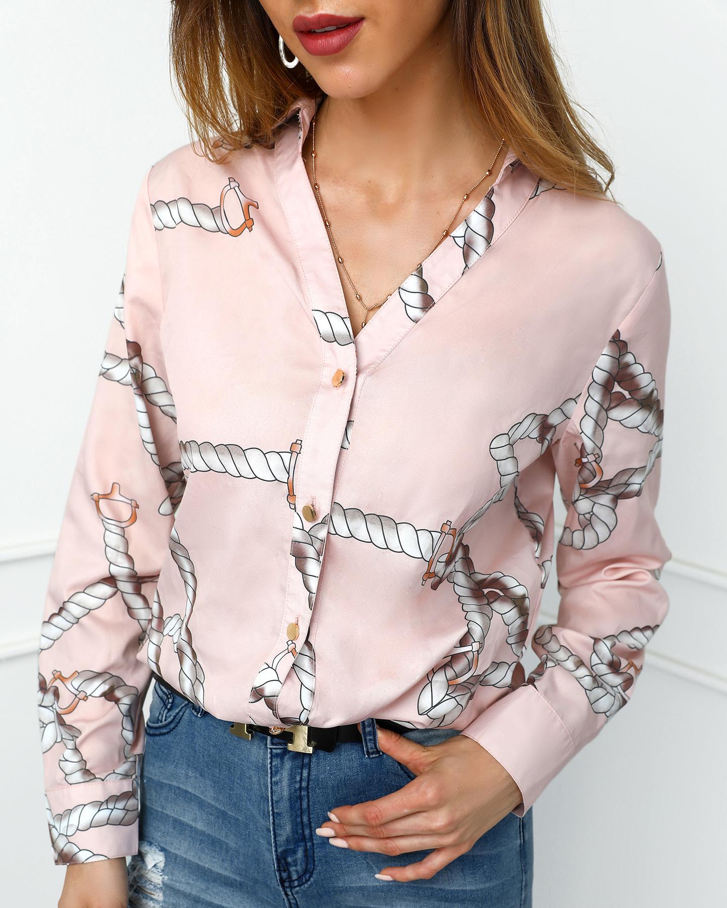 boutiquefeel / Botón de impresión de la cuerda hasta la blusa informal