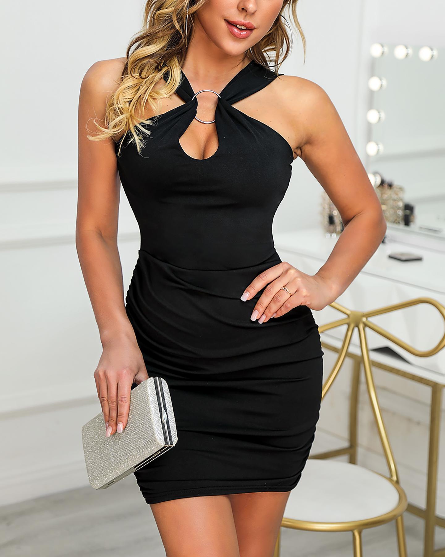 Sleeveless Thin Strap O-Ring Design Dress фото