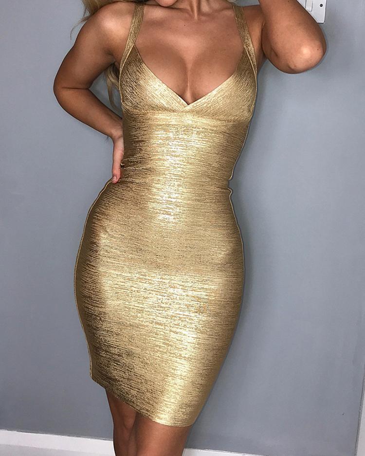 Low Cut Sparkly Bodycon Slip Dress фото