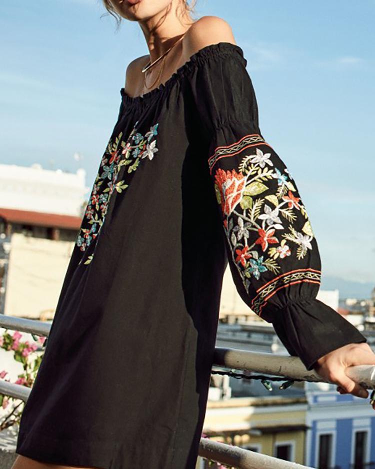 Этнические Гофрирование Off-Плечи Цветочный Узор Повседневный Мини-Платье