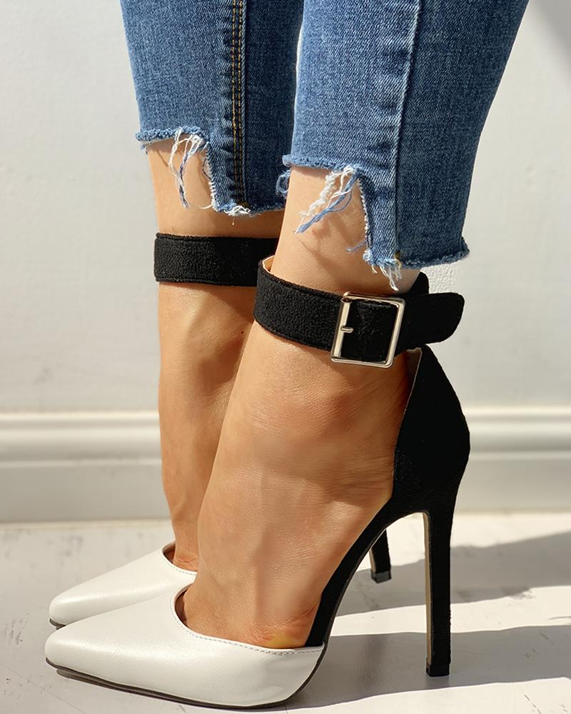 chicme / Pointed Toe Ankle Strap Thin Heels