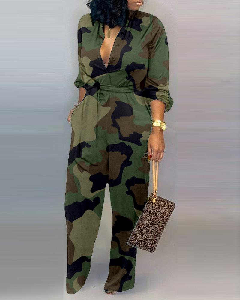 boutiquefeel / V Neck Camouflage Print Buttoned Jumpsuit