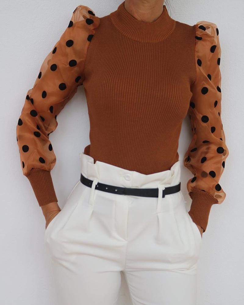 boutiquefeel / Blusa con aplicación de malla y manga de hojaldre con cuello simulado