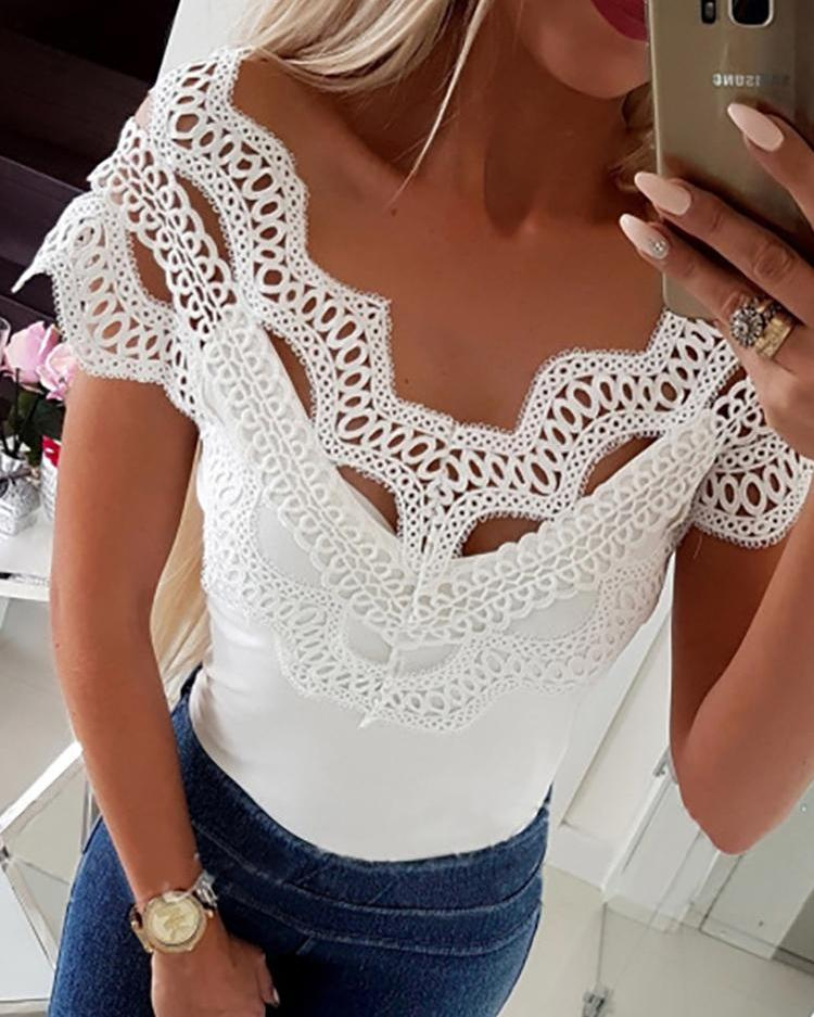 Hollow Out Off Shoulder Lace Top фото