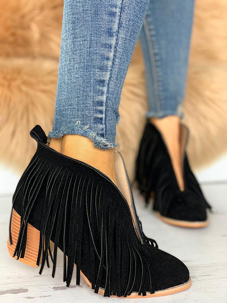 Tassel Embellished Chunky Heeled Boots