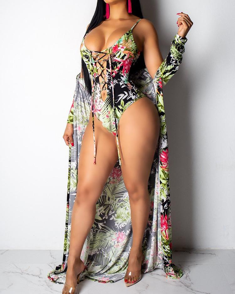 Leaf Print Lace-Up One Piece Swimwear With Cover Up