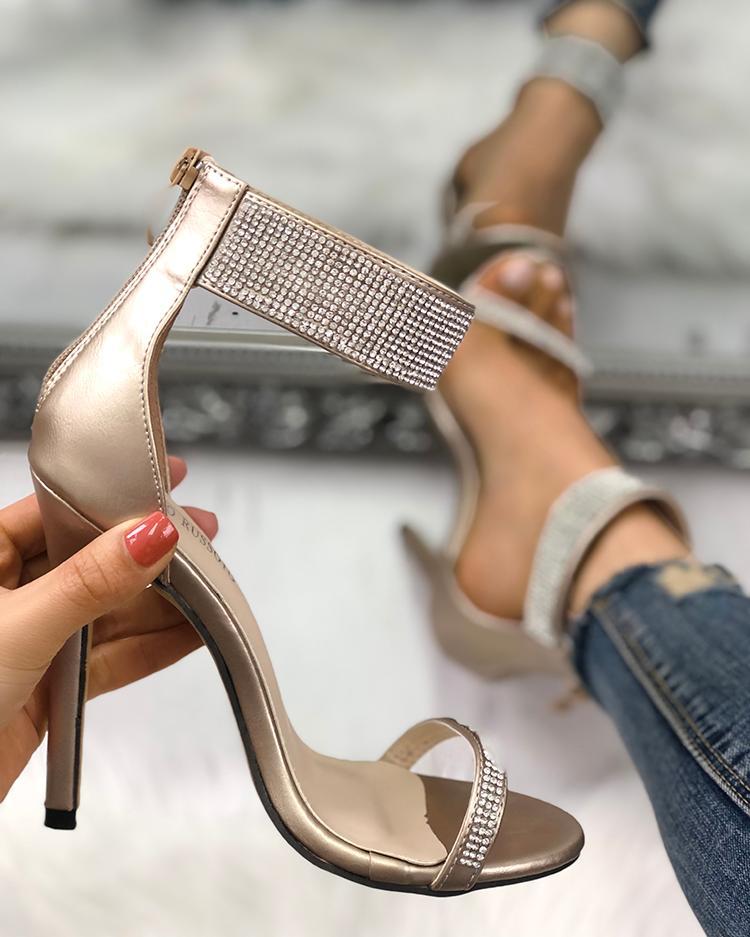 boutiquefeel / Cinta de tornozelo brilhante fina sandália de salto alto