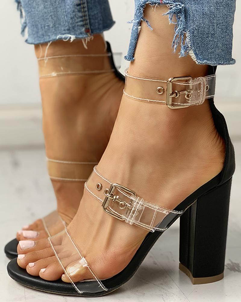 Transparent Strap Chunky Heeled Sandals, Black