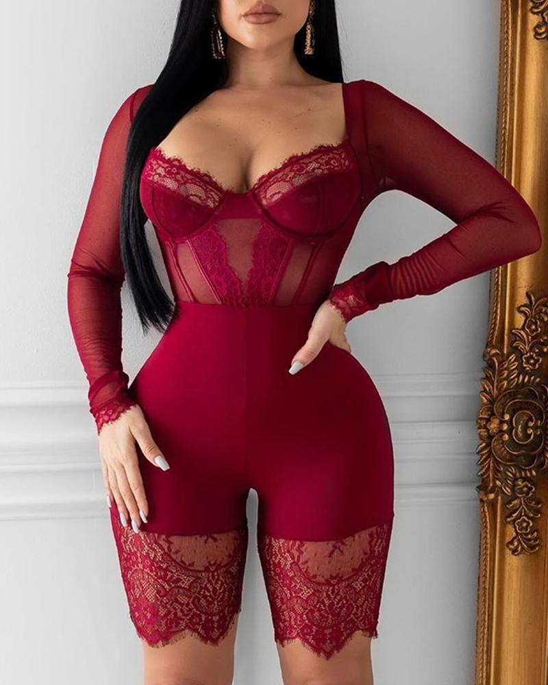 Solid Eyelash Lace Mesh Romper, Wine red