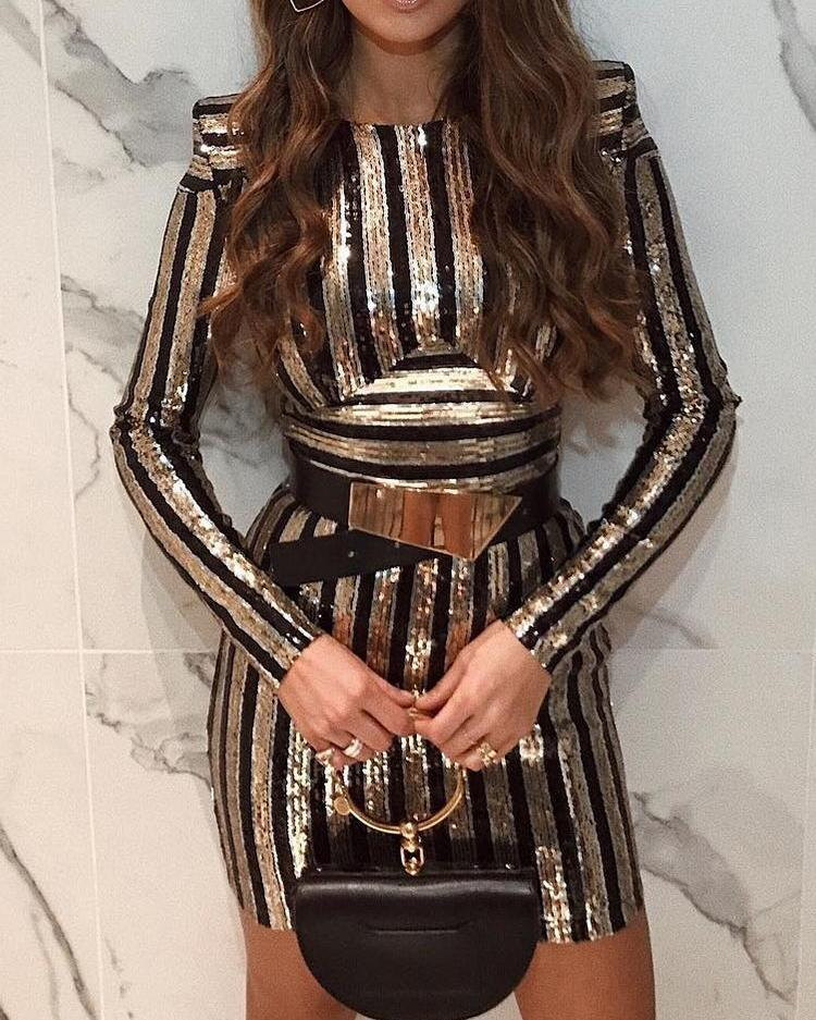 Long Sleeve Striped Sequin Party Dress chicme
