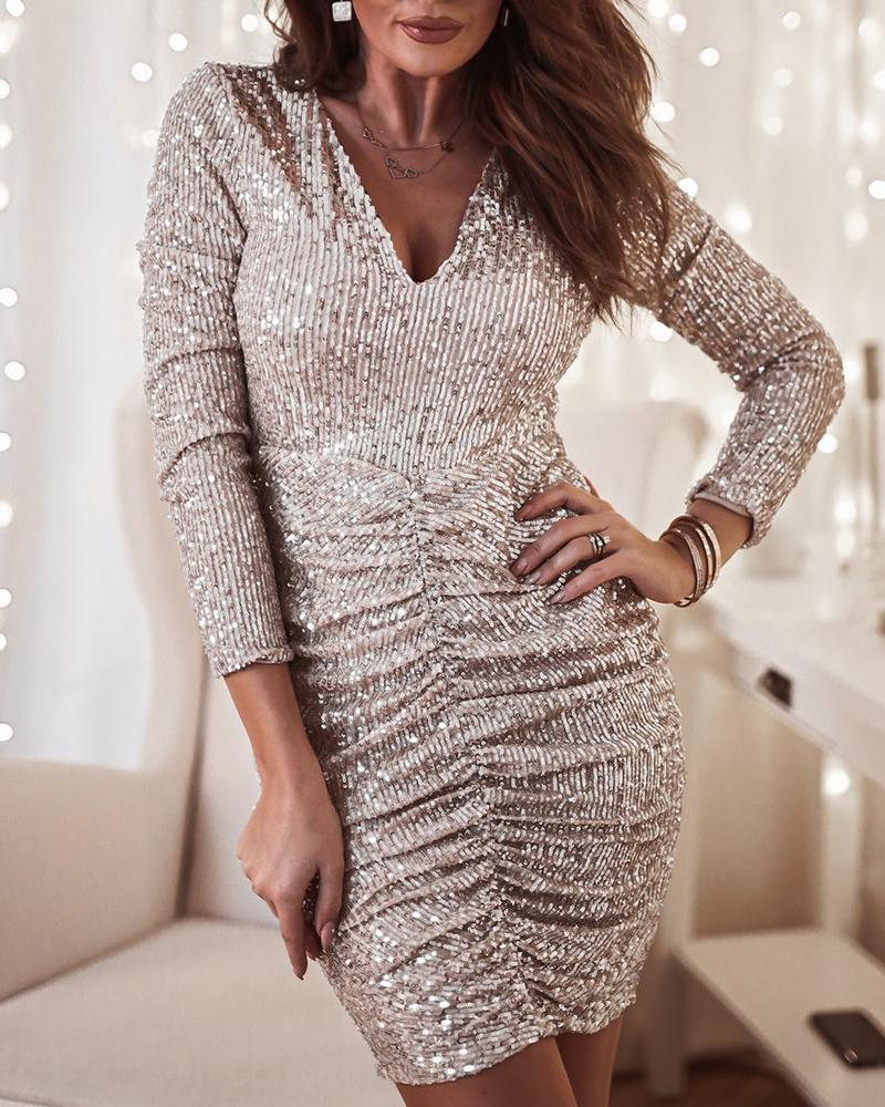 chicme / V Neck Sequin Bodycon Dress