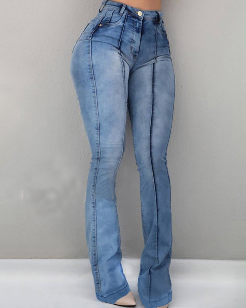 Solid High Waist Bell-Bottom Jeans фото