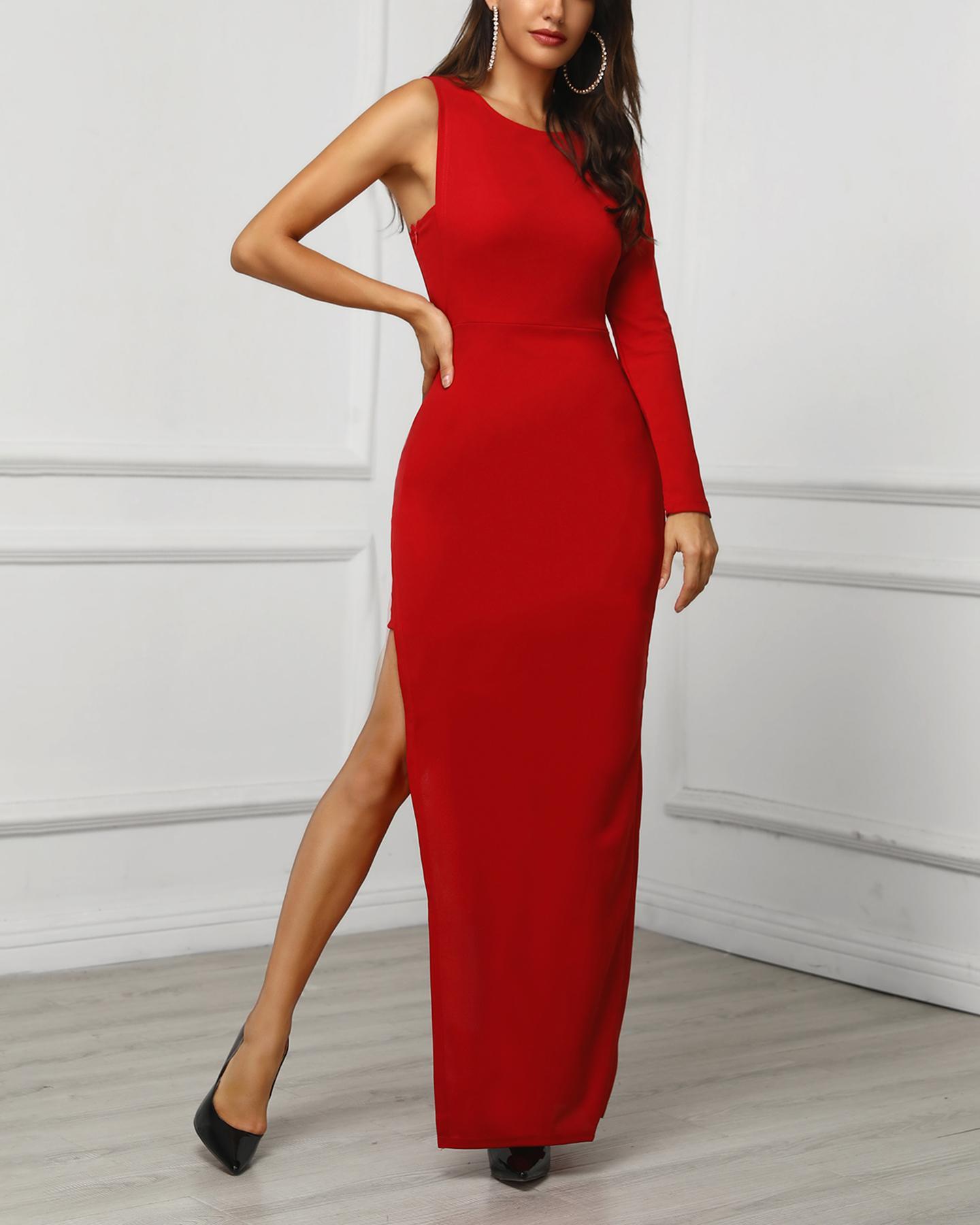 One Sleeve High Slit Party Dress фото