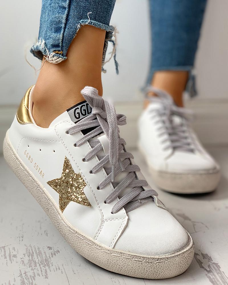 chicme / Zapatillas de deporte con cordones y lentejuelas Star Design