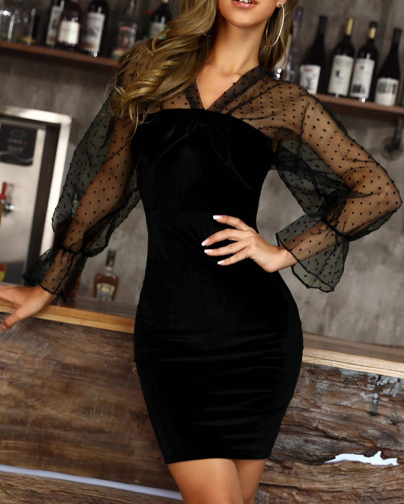 Sheer Mesh Dot Sleeve Bodycon Dress, Black