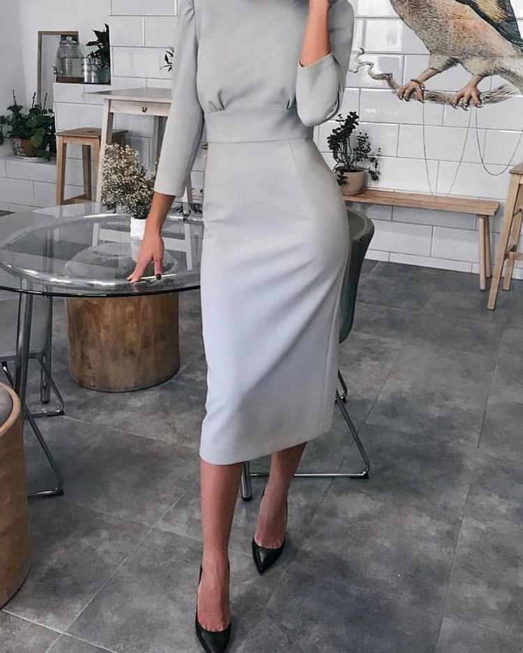 chicme / Cuello redondo sólido atado recortar espalda vestido