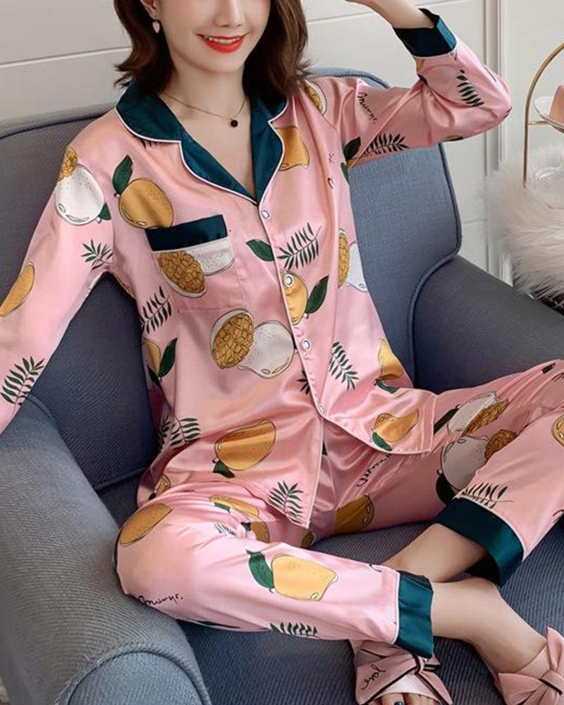 Cartoon Print Two-Piece Pajama Set фото