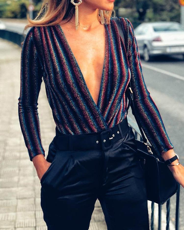 Multicolor Stripes Deep V Glitter Bodysuit